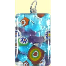 Murano Glass Medium Oblong Pendant - Silver Foiled Blue