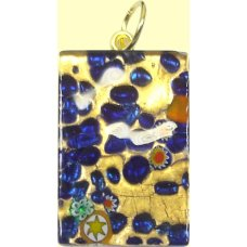 Murano Glass Medium Oblong Pendant - Gold Foiled Blue