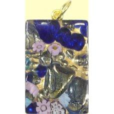 Murano Glass Medium Oblong Pendant - Gold Foiled Blue
