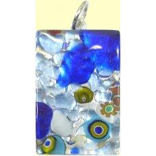 Murano Glass Medium Oblong Pendant - Silver Foiled Blue