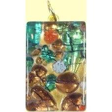 Murano Glass Medium Oblong Pendant - Gold Foiled Green