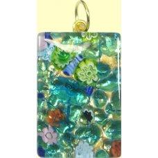Murano Glass Medium Oblong Pendant - Gold Foiled Green