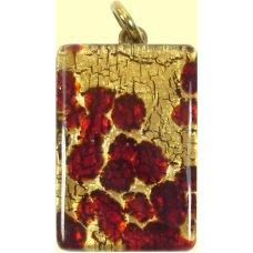 Murano Glass Medium Oblong Pendant - Gold Foiled Red