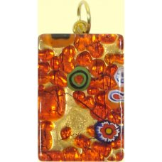 Murano Glass Medium Oblong Pendant - Gold Foiled Orange