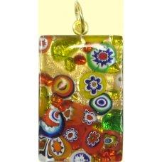 Murano Glass Medium Oblong Pendant - Gold Foiled Multi Coloured