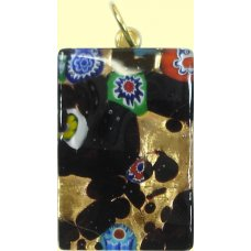Murano Glass Medium Oblong Pendant - Gold Foiled Black