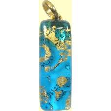 Murano Glass Thin Oblong Pendant Aquamarine