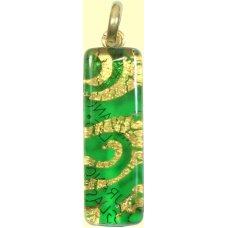 Murano Glass Thin Oblong Pendant Emerald