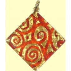 Murano Glass Large Diamond Pendant Ruby