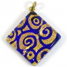 Murano Glass Large Diamond Pendant Sapphire