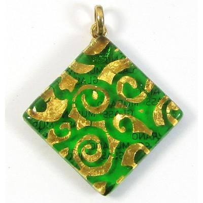 Murano Glass Large Diamond Pendant Emerald