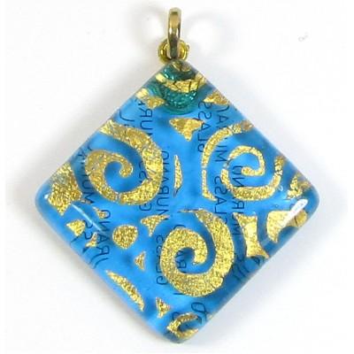 Murano Glass Large Diamond Pendant Aquamarine