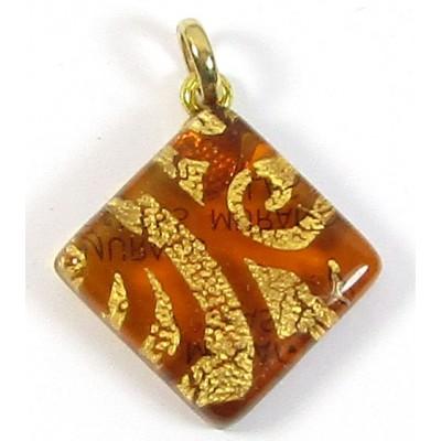 Murano Glass Diamond Pendant Diamond Topaz