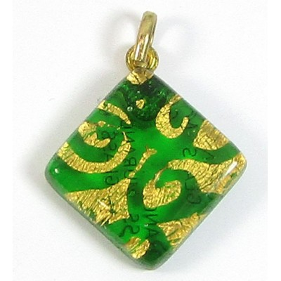 Murano Glass Diamond Pendant Diamond Emerald