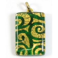 Murano Glass Oblong Pendant Emerald