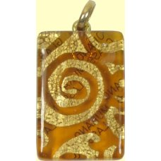 Murano Glass Oblong Pendant Topaz