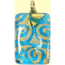 Murano Glass Oblong Pendant Aquamarine
