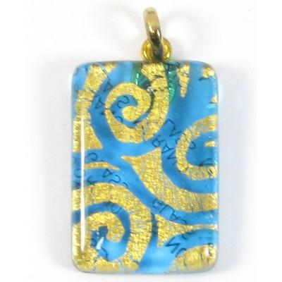 Murano Glass Oblong Pendant Aquamarine