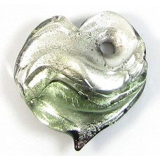 1 Murano Glass  Glass Silver Foiled Heart Pendant Black Diamond
