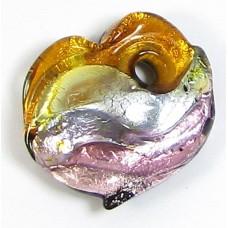 1 Murano Glass  Glass Silver Foiled Heart Pendant Topaz, Alexandrite & Amethyst