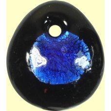 1 Murano Glass Silver Foiled Oval Pendant Dark Sapphire
