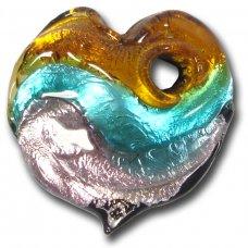 1 Murano  Glass Silver Foiled Heart Pendant Topaz, Verde Marino & Amethyst