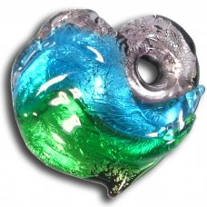 1 Murano  Glass Silver Foiled Heart Pendant Amethyst, Dark Aqua & Emerald