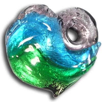 1 Murano  Glass Silver Foiled Heart Pendant Amethyst, Dark Aqua & Emerald