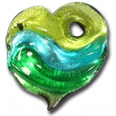 1 Murano  Glass Silver Foiled Heart Pendant Lime, Verde Marino & Emerald