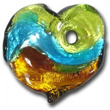 1 Murano  Glass Silver Foiled Heart Pendant Lime, Dark Aqua & Topaz