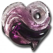 1 Murano  Glass Silver Foiled Heart Pendant Amethyst Shades