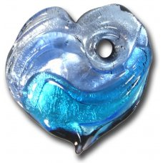 1 Murano  Glass Silver Foiled Heart Pendant Blue Shades