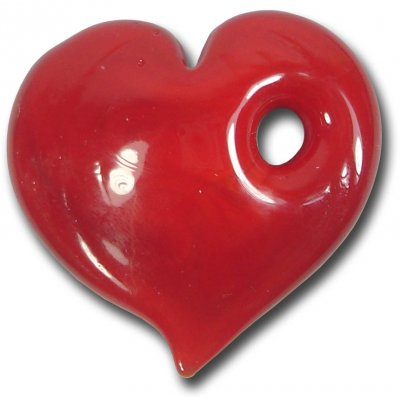 1 Murano Glass Ruby Red Large Heart Pendant
