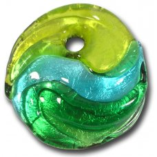 1 Murano Glass Silver Foiled Round Pendant Green Shades