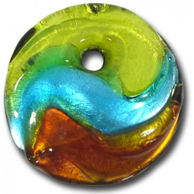 1 Murano Glass Silver Foiled Round Pendant Lime, Dark Aqua & Topaz