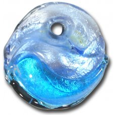 1 Murano Glass Silver Foiled Round Pendant Blue Shades
