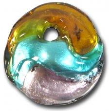 1 Murano Glass Silver Foiled Round Pendant Topaz, Verde Marino & Amethyst