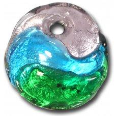 1 Murano Glass Silver Foiled Round Pendant Amethyst, Dark Aqua & Emerald