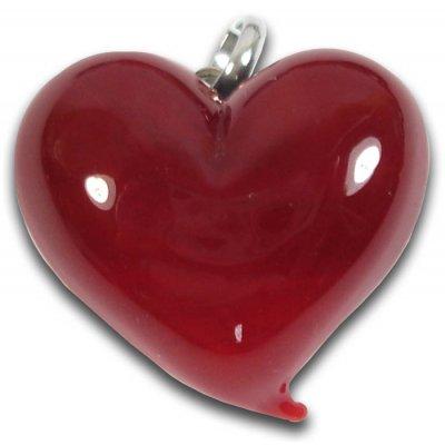 1 Murano Glass Dark Ruby Red Heart Pendant with Bail