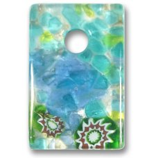 1 Murano Glass Medium Oblong Pendant - Blue Silver Foiled
