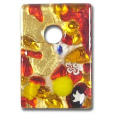 1 Murano Glass Medium Oblong Pendant - Red Gold Foiled