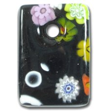 1 Murano Glass Medium Oblong Pendant - Black Millefiore