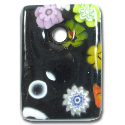 1 Murano Glass Medium Oblong Pendant - Black Millefiore