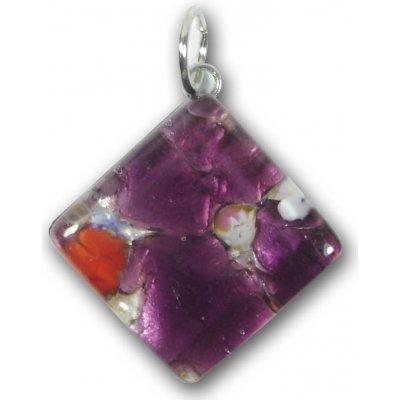 1 Murano Glass Diamond Pendant - Purple Silver Foiled
