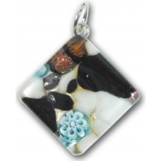 1 Murano Glass Diamond Pendant - Black Silver Foiled