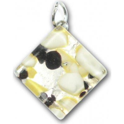 1 Murano Glass Diamond Pendant - Black Silver Foiled