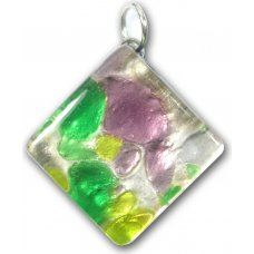 1 Murano Glass Diamond Pendant - Purple Silver Foiled