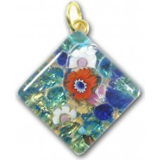 1 Murano Glass Diamond Pendant - Blue Gold Foiled