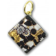 1 Murano Glass Diamond Pendant - Black Gold Foiled