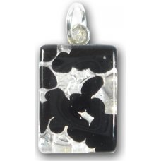 1 Murano Glass Small Oblong Pendant - Black Silver Foiled